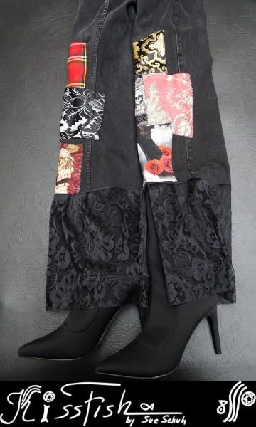 Schwarze Jeans Lace Rock