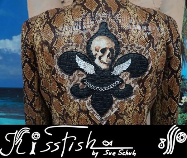 Reptiljacke Fleur de Lis Skull