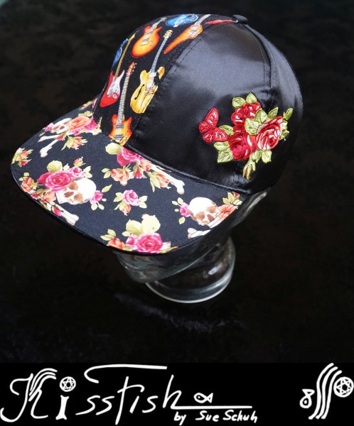 Basecap Roses and Skulls on Black Satin