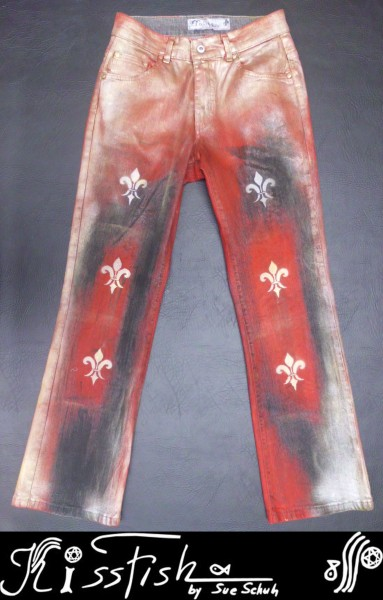 Damenjeans Waxed Red