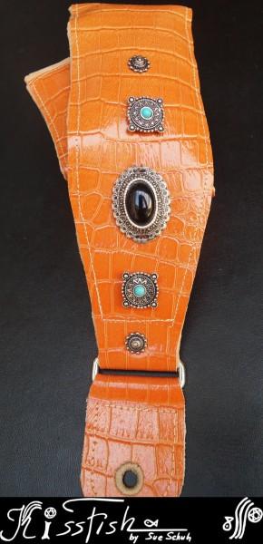 Gitarrengurt Orange Crocodile Vintage